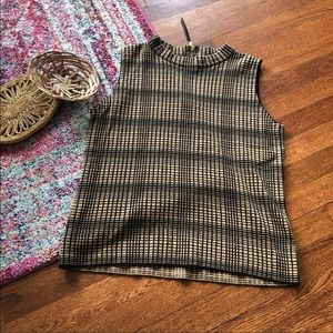 Vince Camuto Tan & black plaid sleeveless sweater